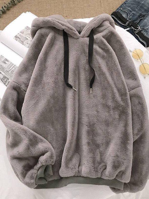 Loose women warm hoodies fleece flannel pullover sweatshirt