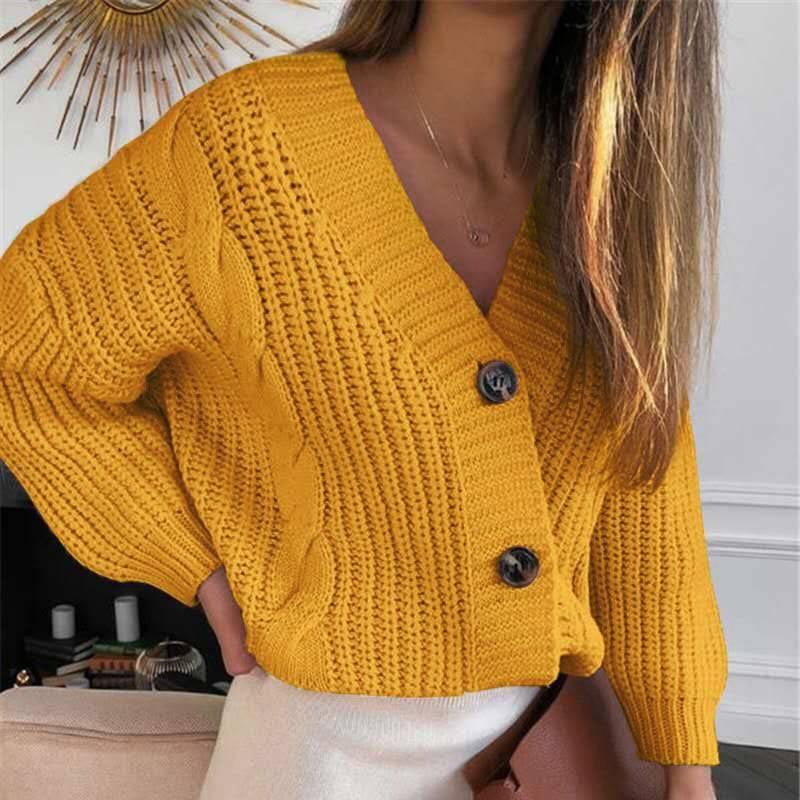 V neck long sleeve short knitted cardigan sweater