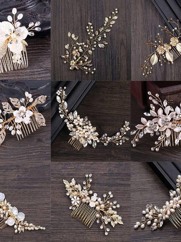 Golden metal crystal pearl hair comb bridal hair jewelry