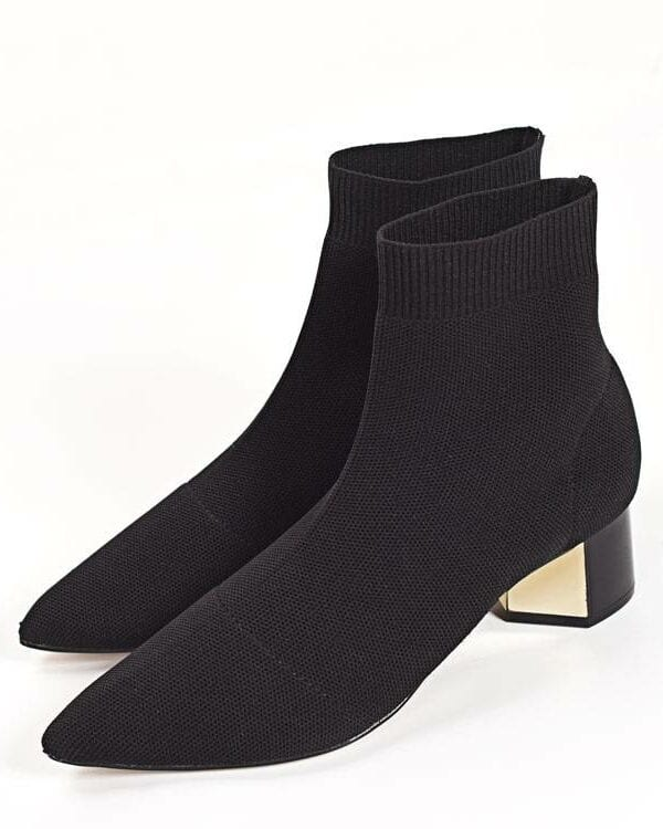 Knitted elastic socks medium heeled short point toe ankle boots