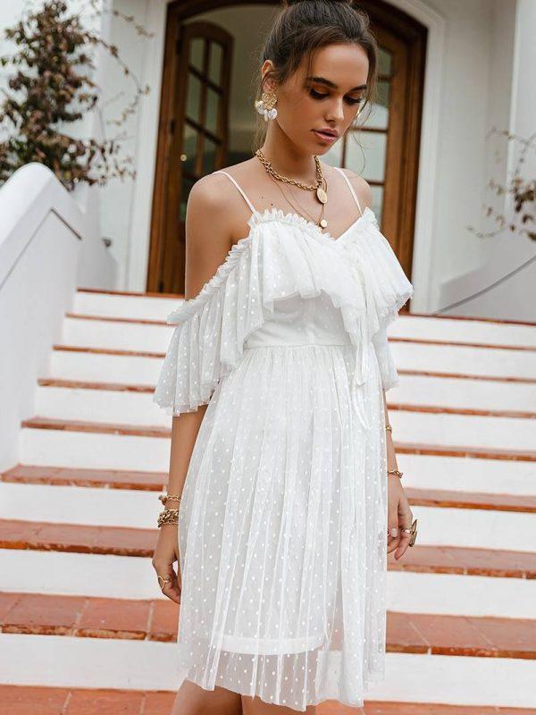 White polka dot embroidery spaghetti lace up v-neck a-line beach dress