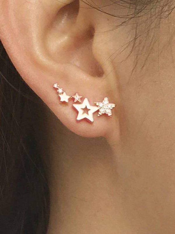 Shiny white zircon simple star women drop earrings