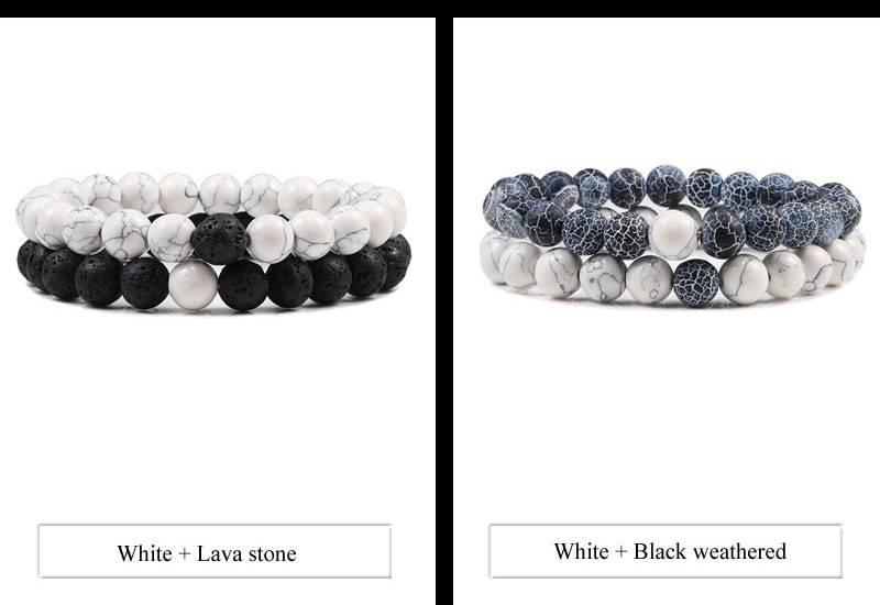 Black white natural lava stone tiger eye beaded yoga bracelet