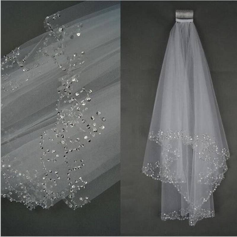 White ivory 2 layers 75 cm sequins beaded edge with comb wedding veil