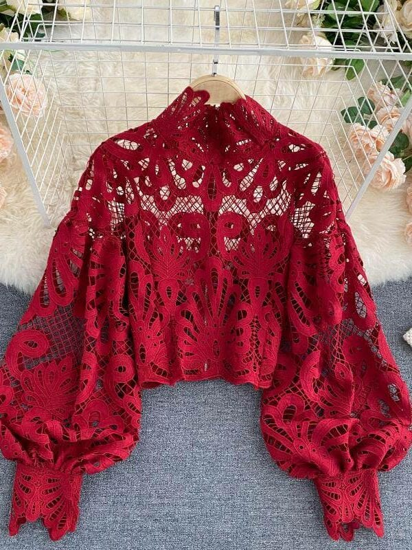 Elegant red lace hollow out lantern long sleeve stand collar loose blouse top