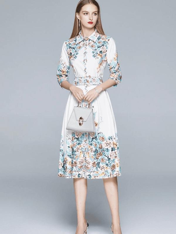 Elegant vintage office floral dress