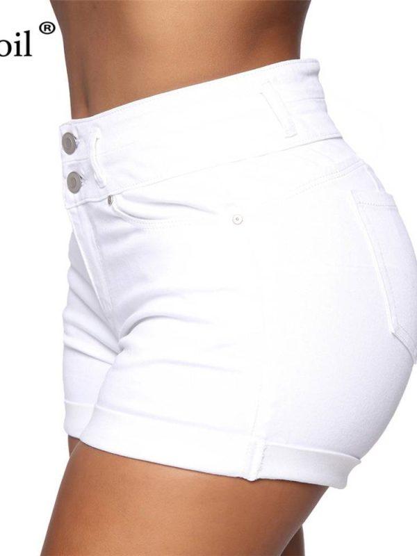 Black white high waist with pockets button up bodycon denim shorts