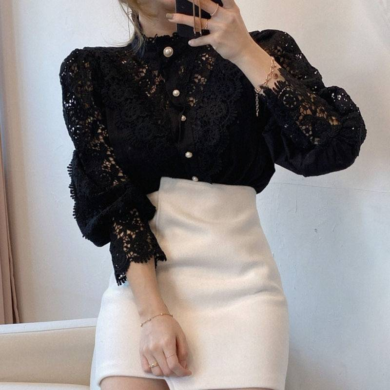 Petal sleeve stand collar hollow out flower lace patchwork shirt