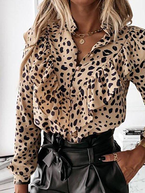 Ruffled polka dot print single breasted long sleeve elegant office blouse