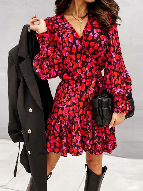 Elegant ruffles v neck red long lantern sleeve print wrap dress