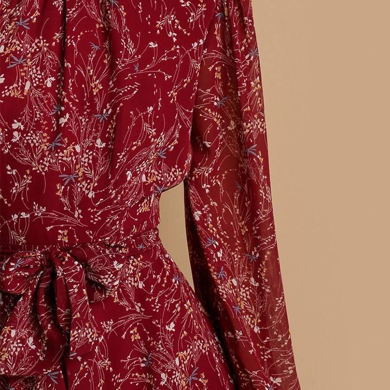 Floral print long sleeve chiffon a line dress