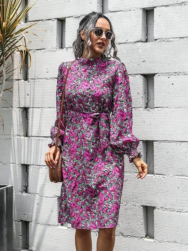 Vintage chiffon high waist sashes lantern long sleeve midi print floral dress