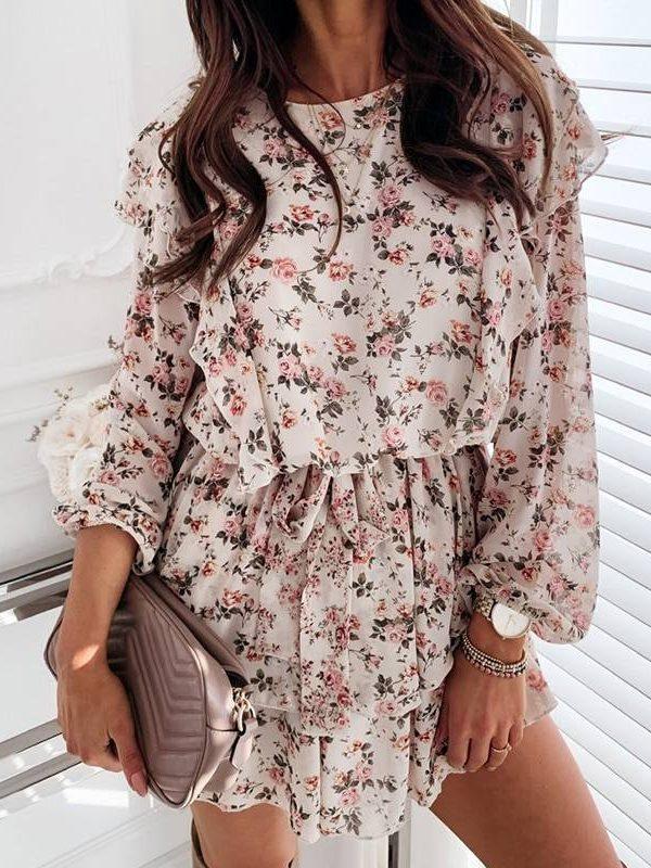 Elegant boho cascading ruffle long sleeve a line floral print dress