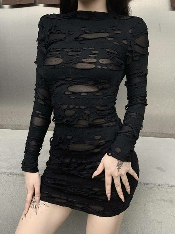 Gothic rock punk hollow high waist long sleeve bodycon black mini dress