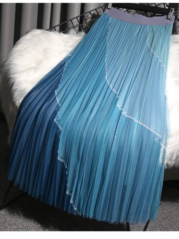 3 layers elegant patchwork mesh high waist midi long tulle pleated skirt