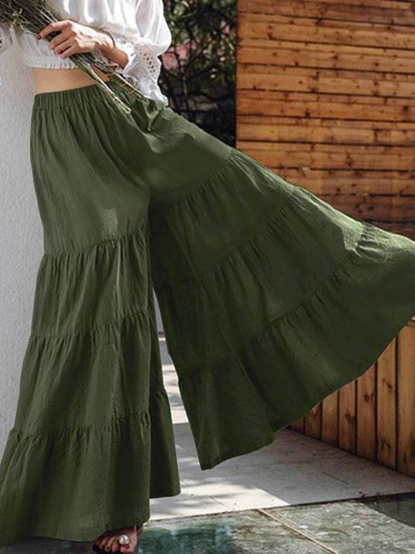 Vintage elastic waist long wide leg trousers pants pantalon