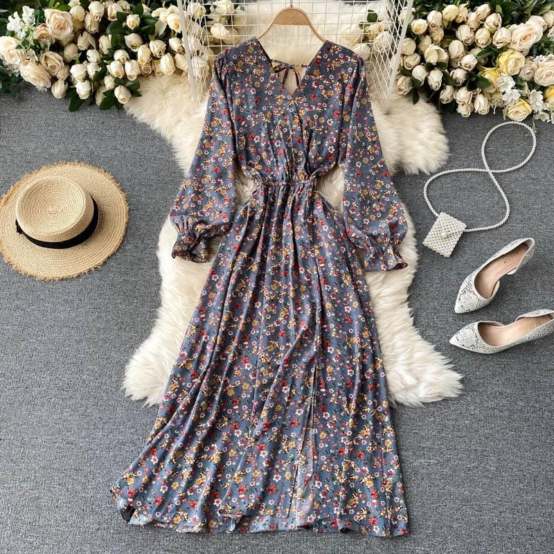 Floral chiffon long sleeve v-neck vintage dress