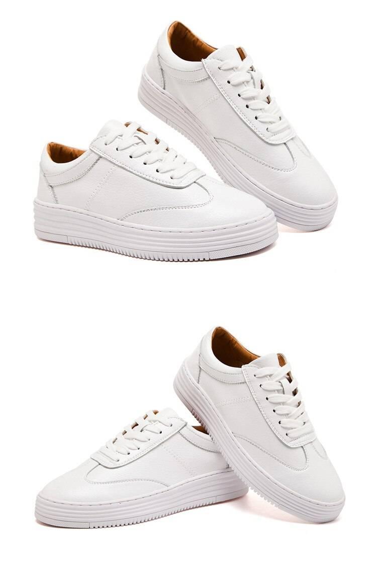 White split leather women chunky sneakers
