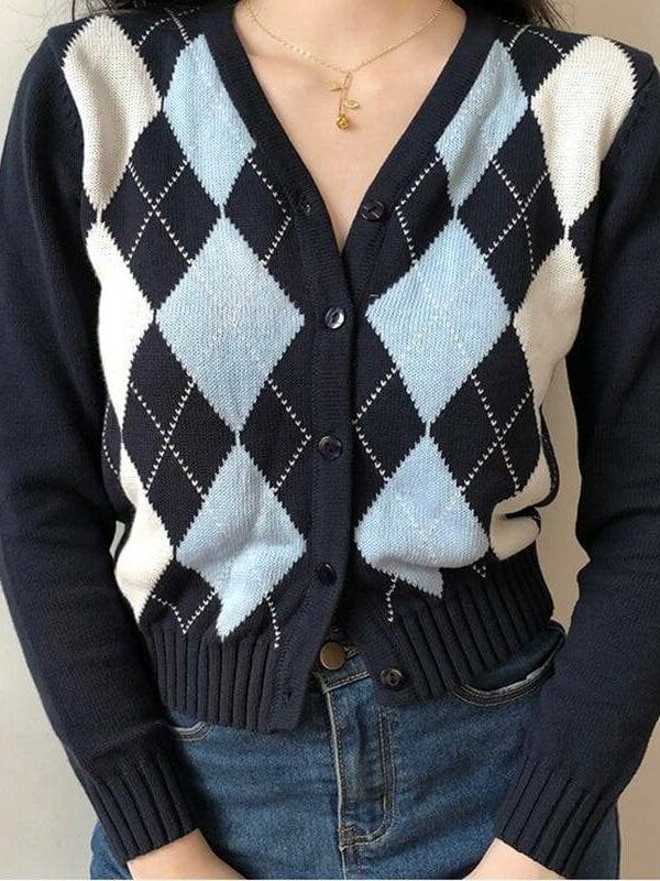 Vintage geometric long sleeve v neck knitted sweater