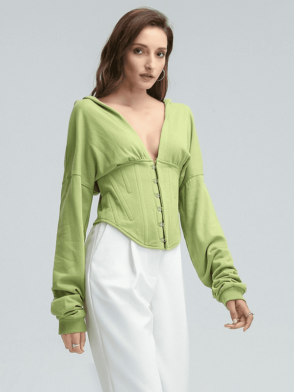 Elegant long sleeves sweatshirt hoodie