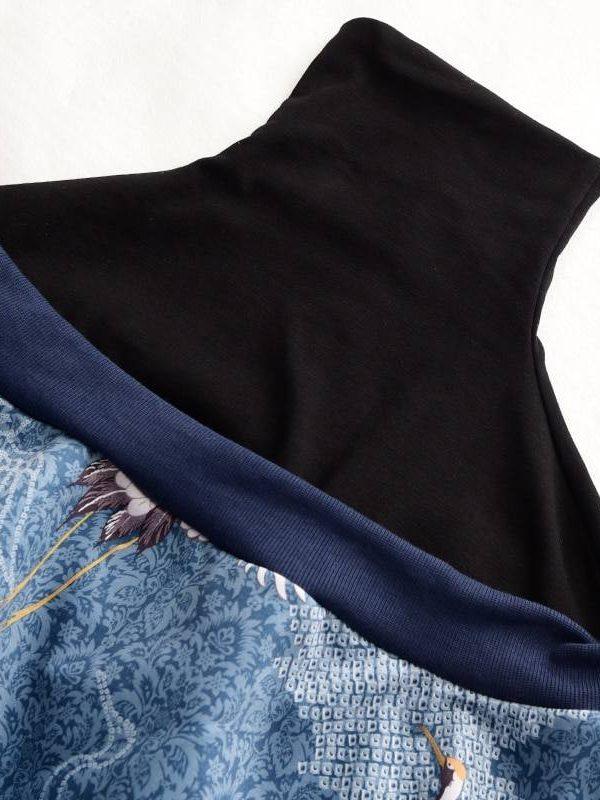 High collar long sleeve pattern printed loose sweatshirt