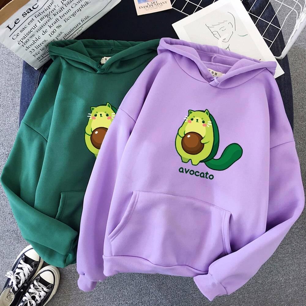 Avocado print oversize hoodie sweatshirt