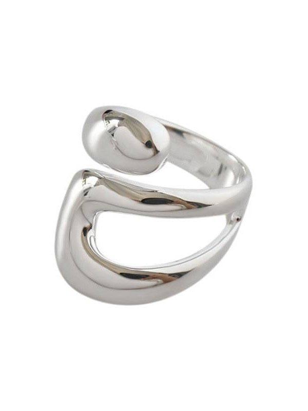 Creative hollow irregular geometric silver rings