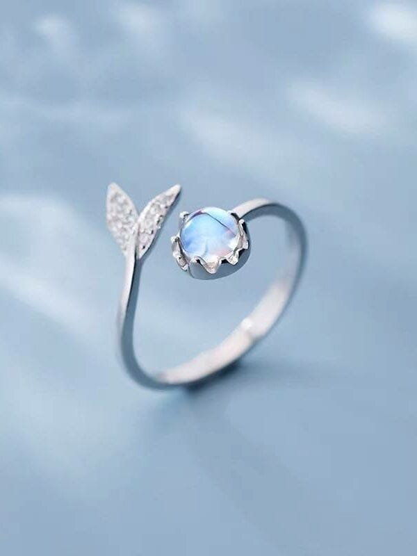 Silver cute tail moonstone adjustable ring