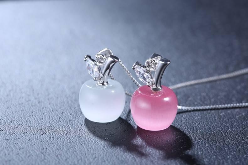 Silver pink opal apple shape pendant necklace length 45cm