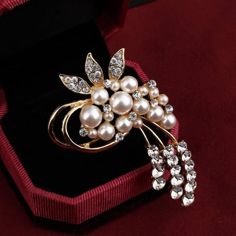 Vintage gold brooch pins crystals pearl flower brooch wedding accessories