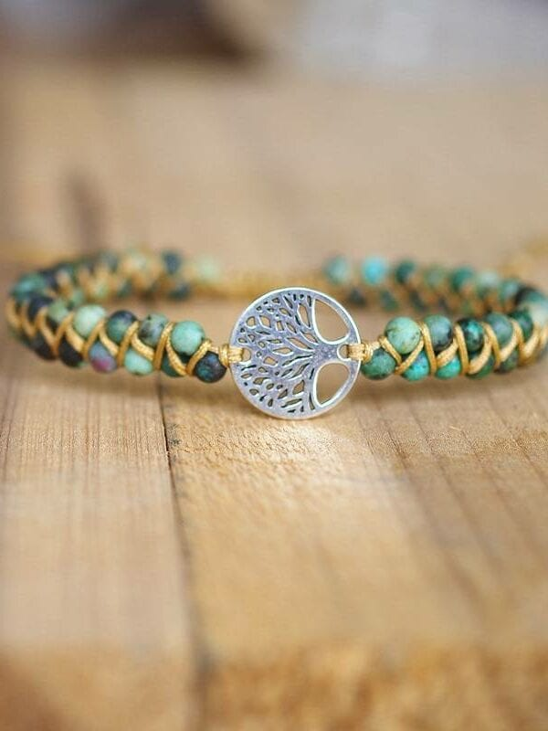 Natural stone tree of life women men charm boho yoga wrap bracelet