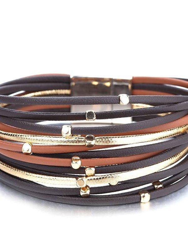 Metal beads genuine leather bracelet for women