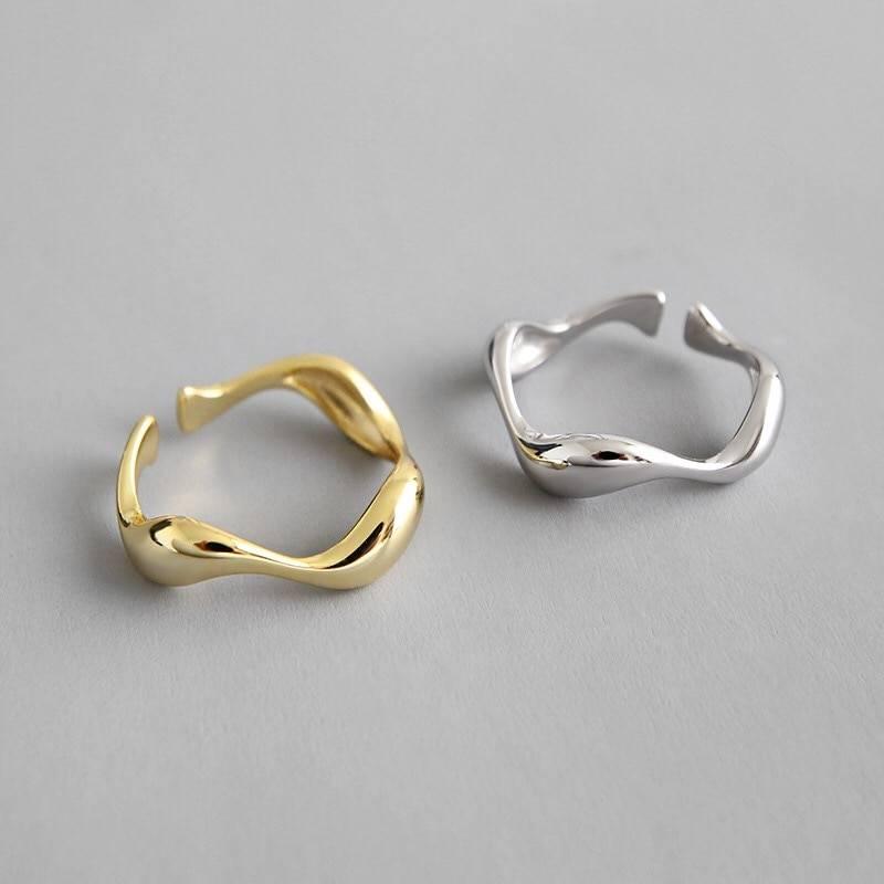 Minimalist irregular pattern silver open ring