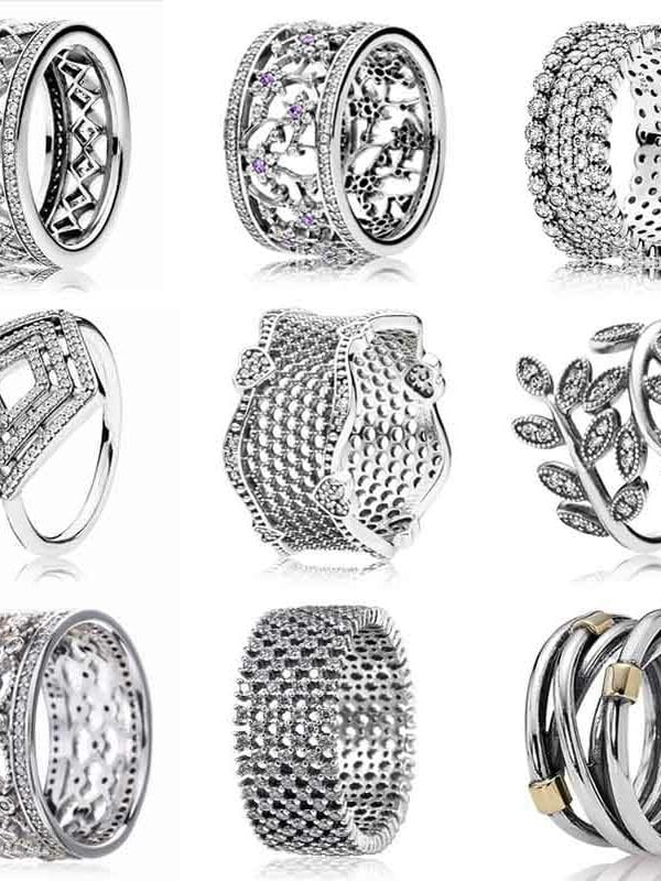 Leaves flower lace of love entwined lavish silver rings