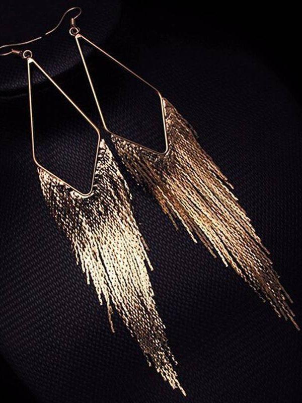 Vintage metal gold color long tassel earrings