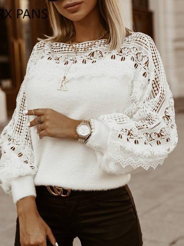 Guipure lace lantern sleeve sweater