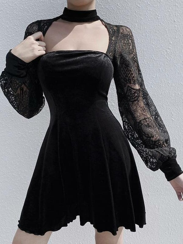 Gothic lantern long sleeve lace velvet patchwork dress