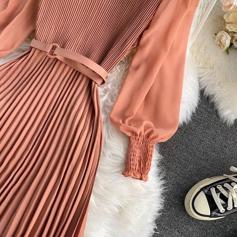 Elegant high waist patchwork lace long lantern sleeve vintage dress