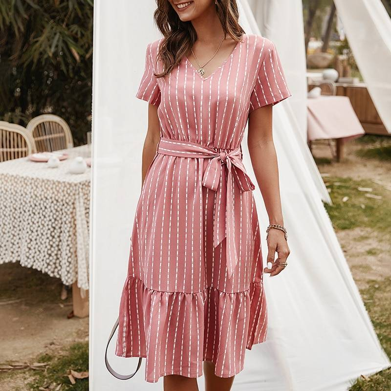 Vintage pink yellow striped sashes lace-up sundress