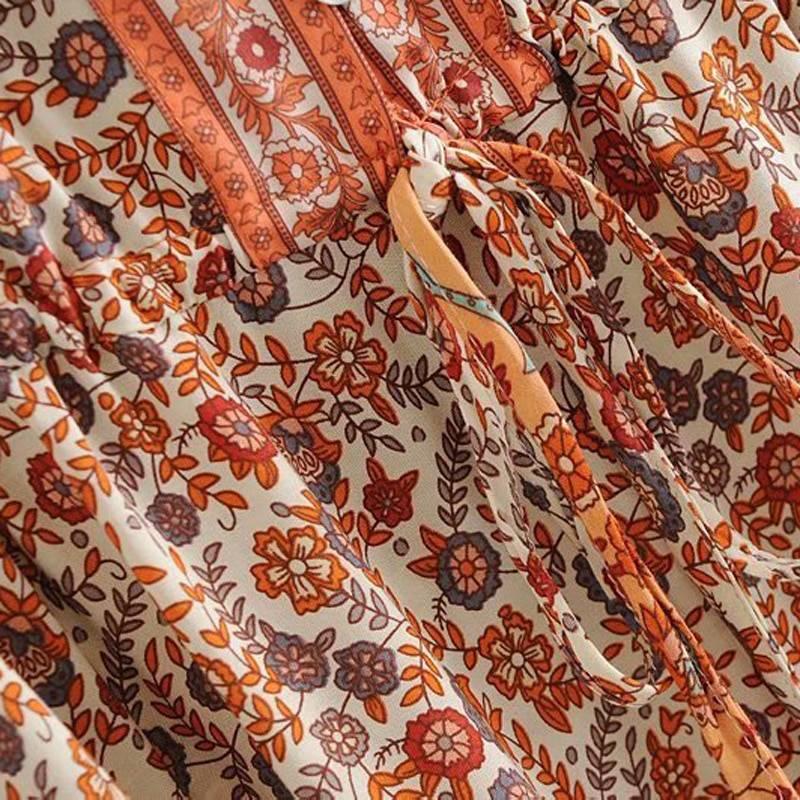 Floral print v-neck short sleeve tassel beach bohemian dress