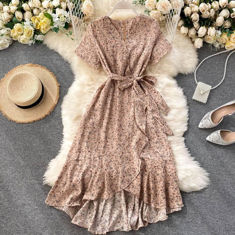 Floral v-neck short sleeve bandage waist a-line ruffle midi dress