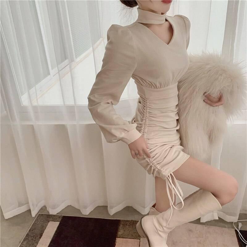Vintage v-neck long sleeve one piece mini dress