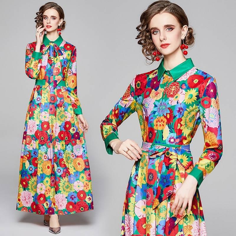 Floral long sleeve vintage print long dress