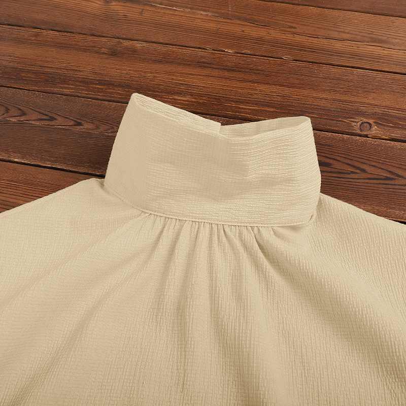 Drawstring bow turtleneck elegant office shirt