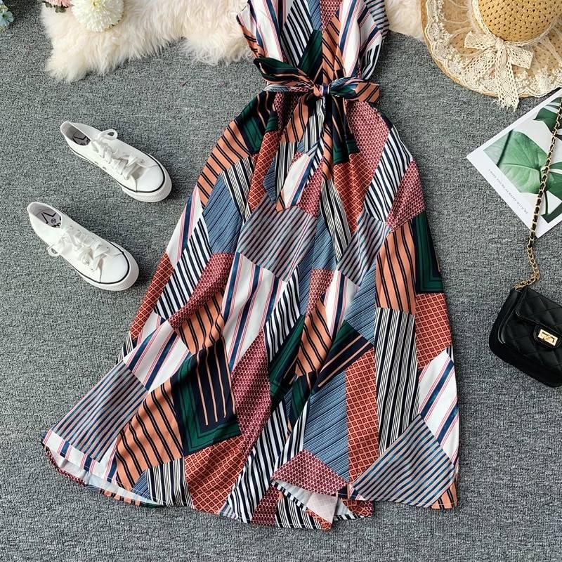 Retro print chiffon spaghetti strap sexy v-neck beach boho with belt dress