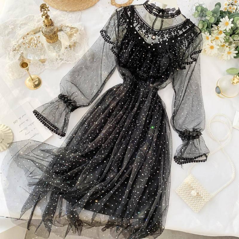 Vintage High Waist Embridery A-Line Party Boho Dress Solid Black Long Sleeve Spring 2021 Elegant Luxury Dresses Women Lace Autum