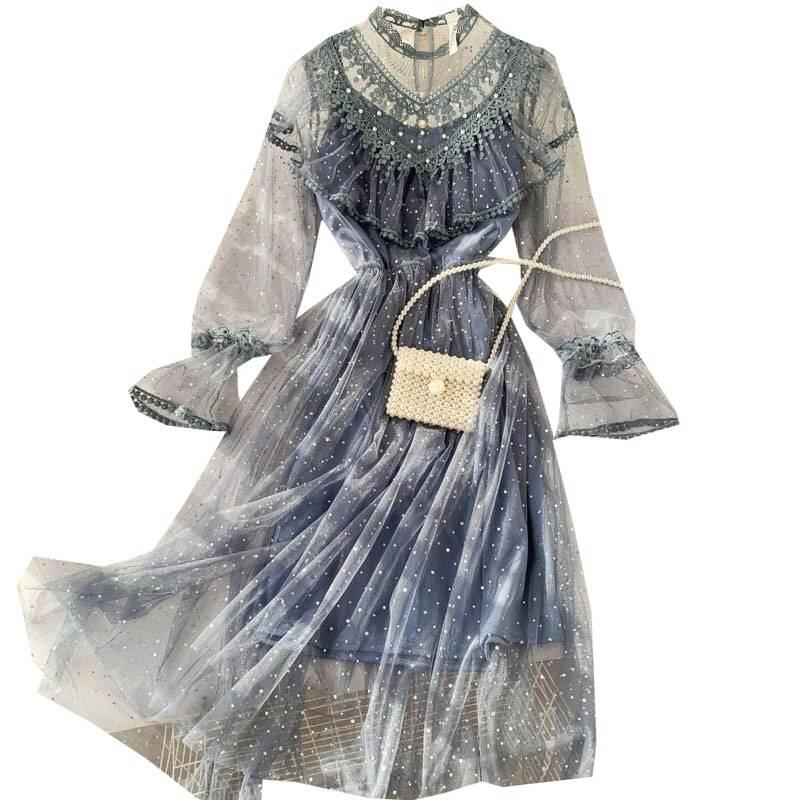 Vintage high waist embridery a-line boho dress