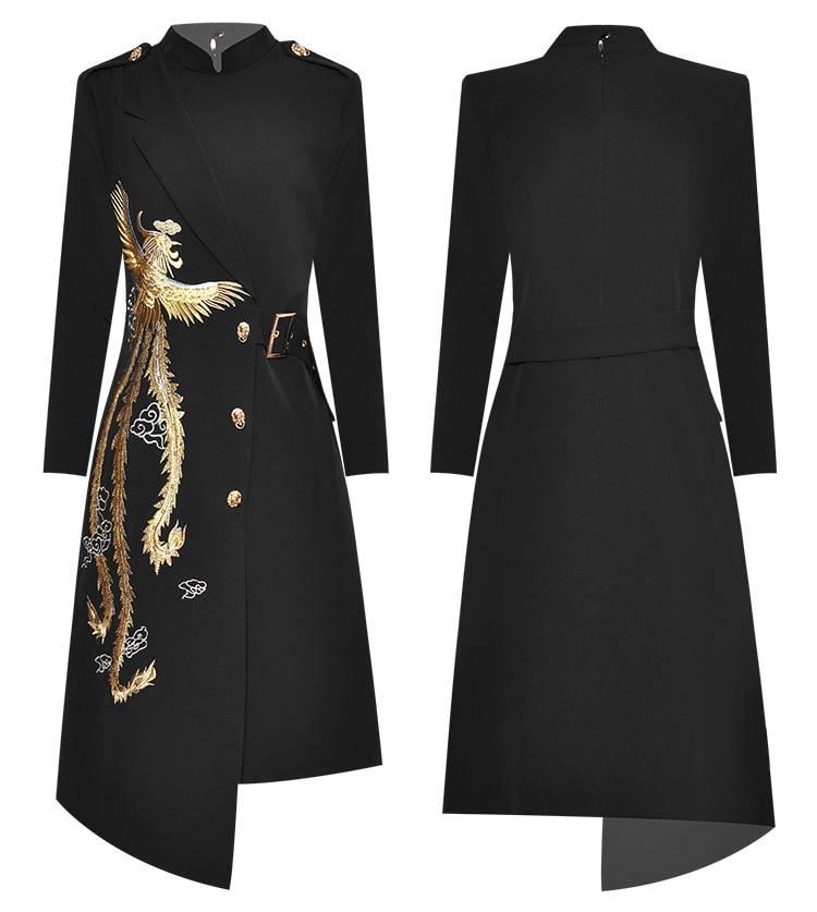 MoaaYina Fashion Designer dress Spring Autumn Women's Dress Stand collar Embroidery Elegant Asymmetrical Dresses