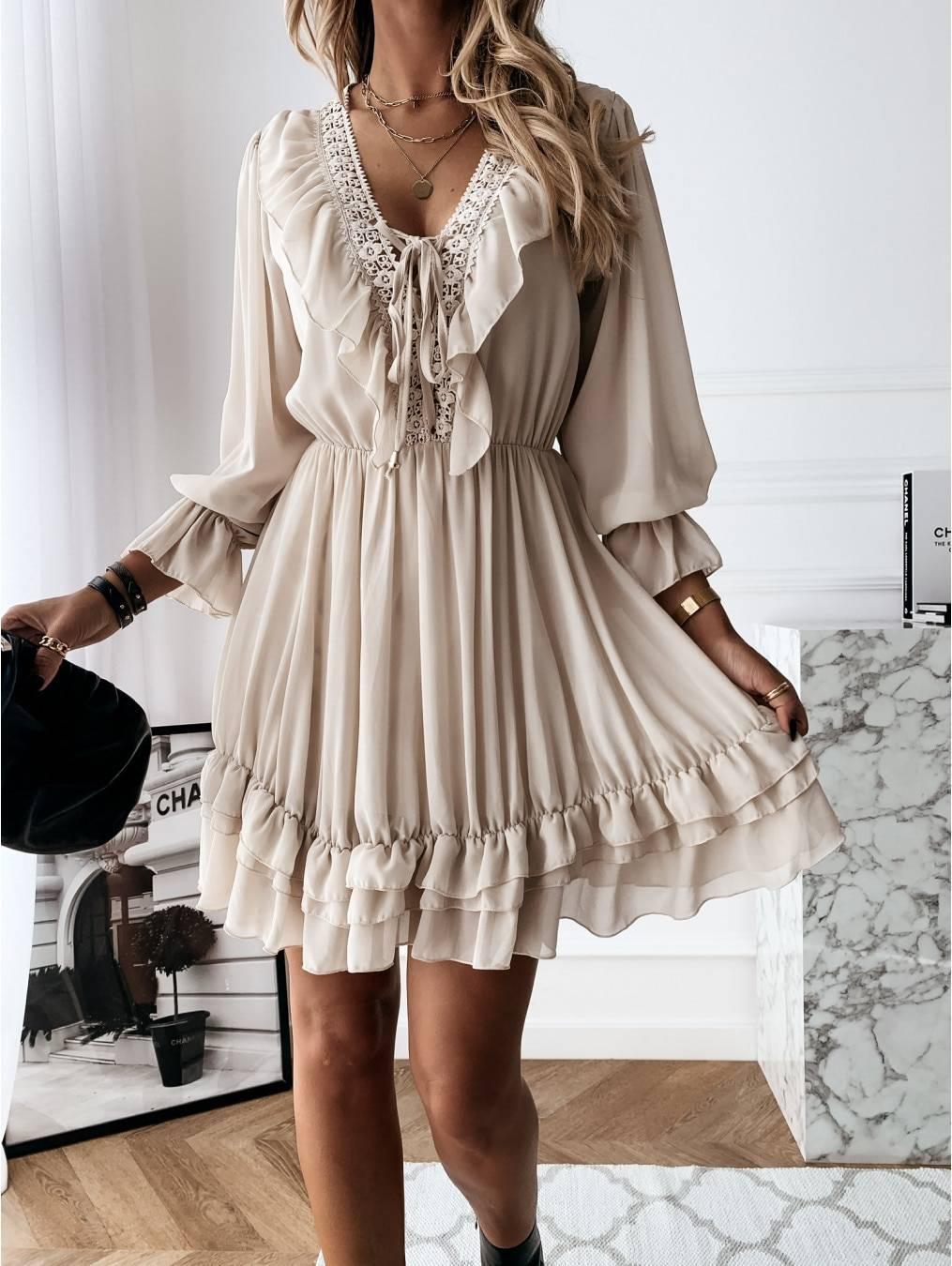 Women Dress 2021 Spring Autumn Sexy Lace Mini Dress Elegant Long Sleeve Ruffle Chiffon Dress Deep V Neck Ladies Clothes Vestidos