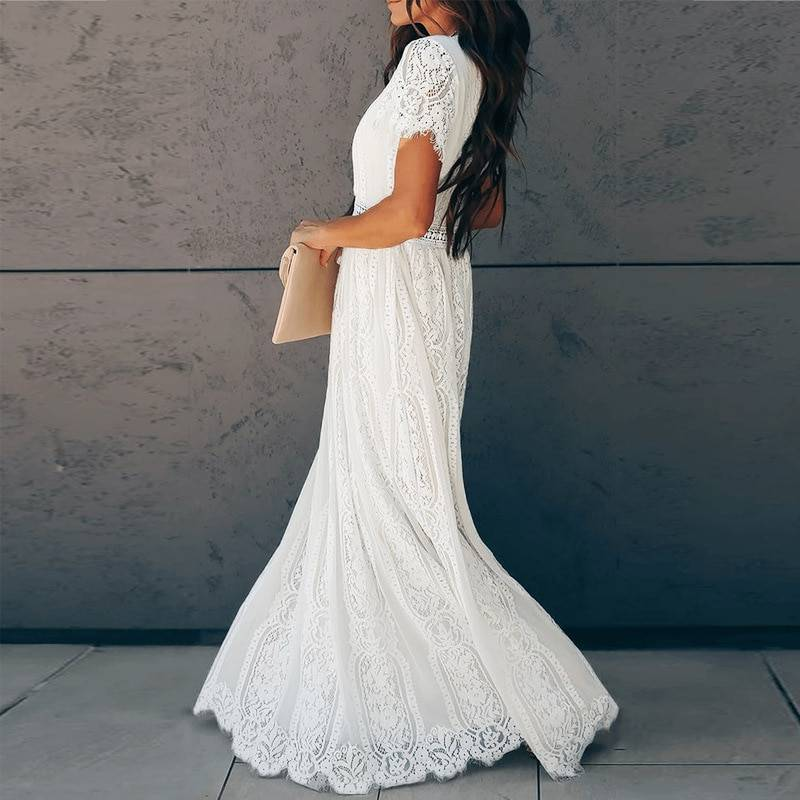 Ordifree 2021 Summer Vintage Women Maxi Party Dress Short Sleeve White Lace Long Tunic Beach Dress Vocation Holiday Clothes